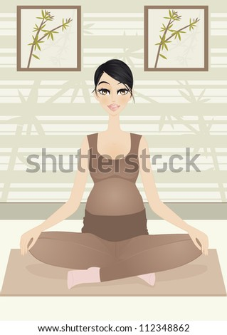 Pregnant woman in yoga pose : A vector illustration of pregnant woman looking for relaxation with yoga...