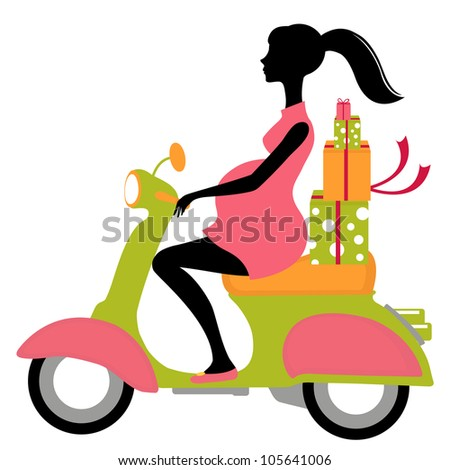 Pregnant woman on scooter with gift boxes