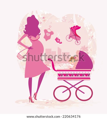 pregnant woman pushing a stroller, abstract illustration  - stock vector