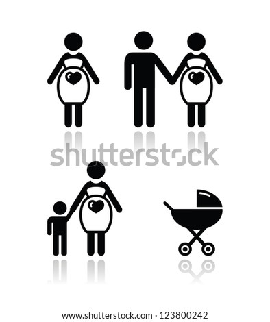 Pregnant woman vector icons set - stock vector