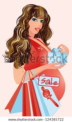Pregnant woman with shopping bags, vector illustration - stock vector