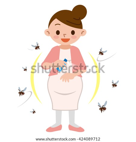 Pregnant women to spray insect repellent - stock vector