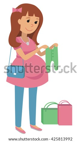 Pregnant young woman chooses clothes for your baby. Flat Vector Illustration of pregnant woman on shopping isolated on white background.