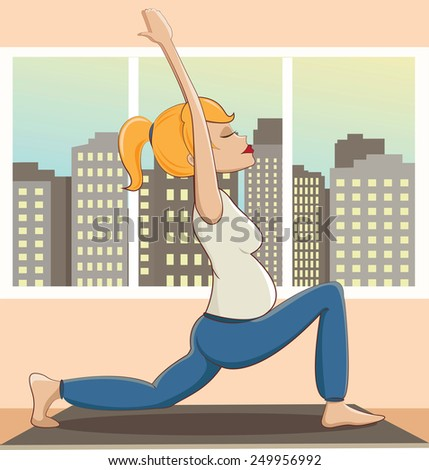 Pregnant young woman doing yoga - stock vector