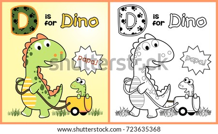 prehistoric animals vector cartoon illustration coloring page or book