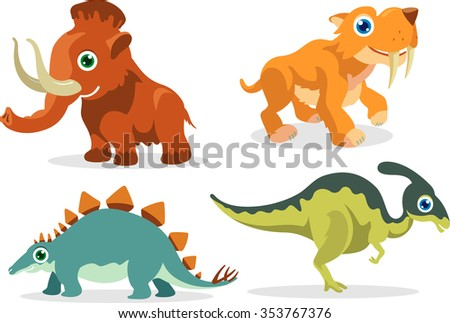 Prehistoric Cartoon Animals-Cute set of extinct species once dominated the earth - stock vector
