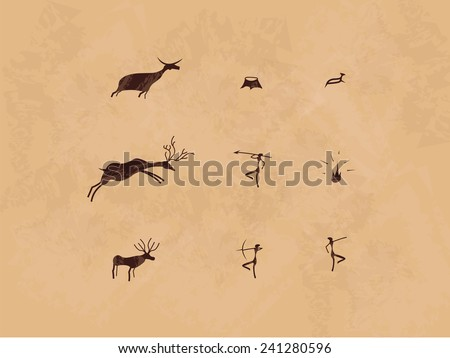 Prehistoric cave painting icon set. Mural. - stock vector