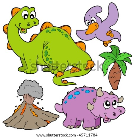 Prehistoric collection on white background - vector illustration. - stock vector