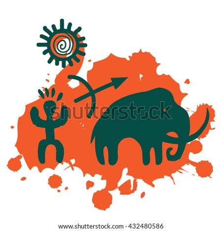 Prehistoric hunt background - stock vector