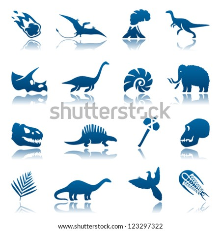 Prehistoric icon set - stock vector