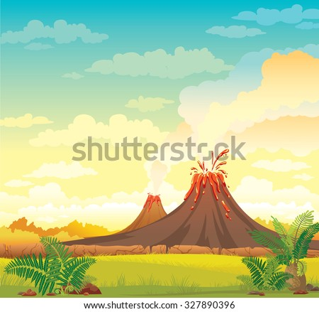 Prehistoric landscape with smoky volcanoes and green grass on a blue cloudy sky. Vector nature illustration. - stock vector