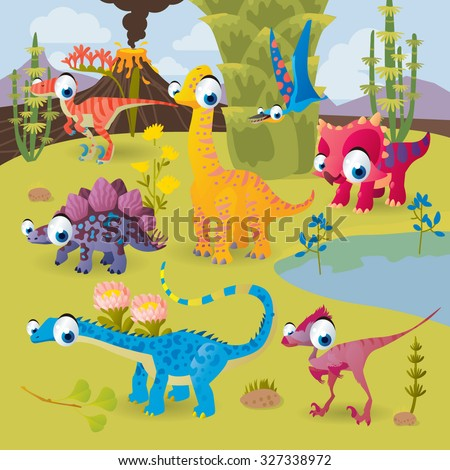 Prehistoric vector cartoon scenery: dinosaurs by the volcano: triceratops, stegosaurus, diplodocus, brachiosaurus, oviraptor, velociraptor - stock vector