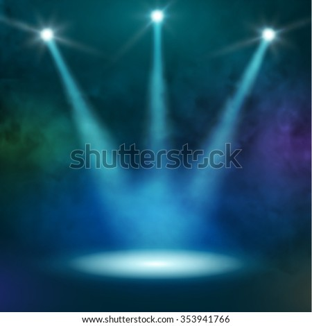 Premiere Blue Show background sparkles. Smoky vector stage shining with rays spotlight  - stock vector