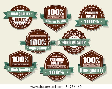 Premium and High Quality Labels with retro vintage design - stock vector