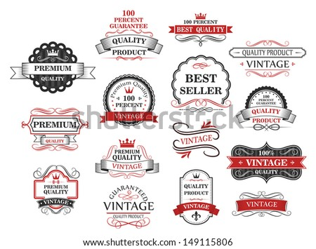 Premium and quality banners set in retro style - stock vector