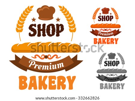 Premium bakery or pastry shop icon with french baguette and baker hat, framed by wheat with stars and ribbon banner