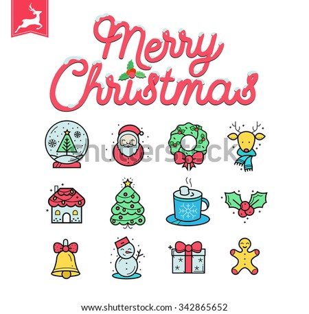 Premium Christmas flat icon Collection - easy editable illustrations on white background - stock vector