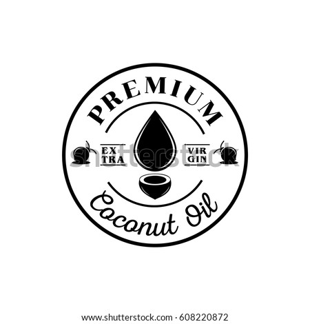 premium coconut oil logo with oil drop and coconut tree