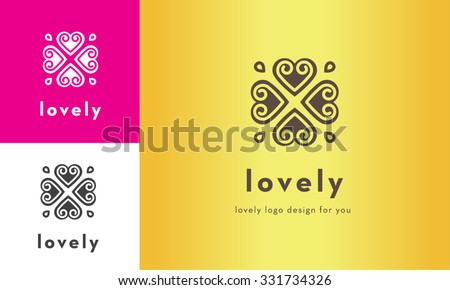 premium cute four heart vector logo design for multiple uses  - stock vector