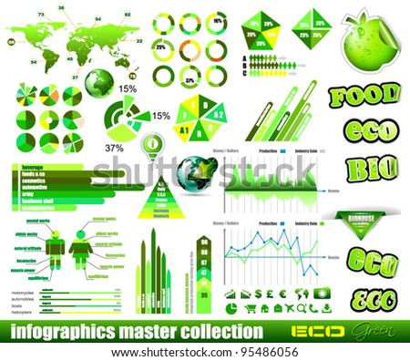Premium Eco Green infographics master collection: graphs, histograms, arrows, chart, 3D globe, icons and a lot of related design elements. - stock vector