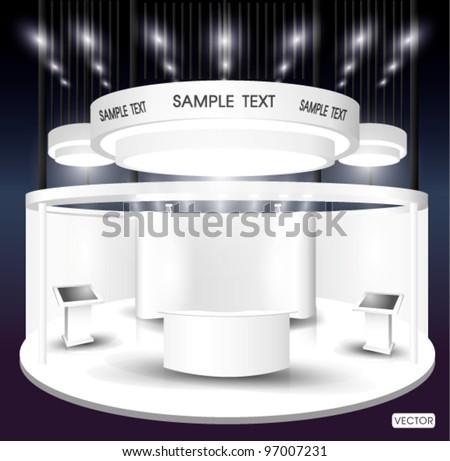 premium exhibition booth - stock vector