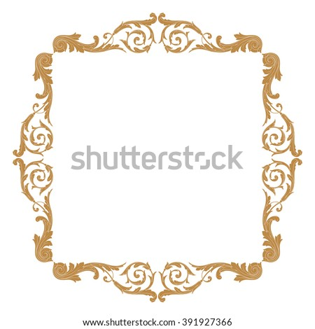 Antique Border: Carved Wooden Ancient Frame Stock Photo 22411615