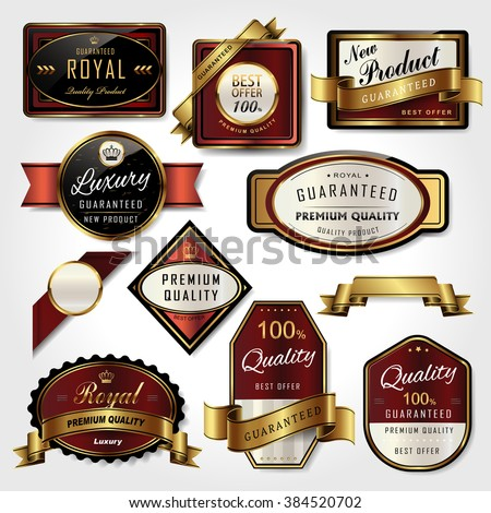 premium golden labels collection set for retail usage
