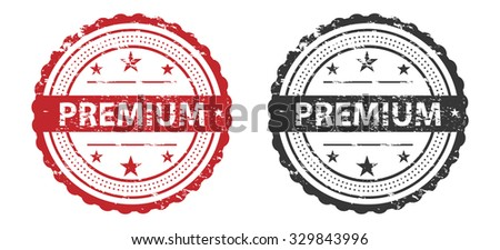 Premium Grunge Stamp Red and Black Isolated on white