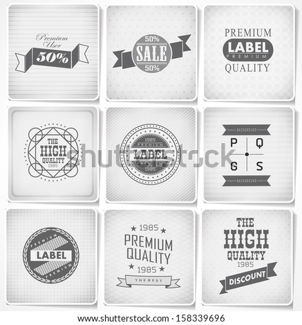 Premium, Guarantee and sale Labels  and typography vintage design/ on old paper - stock vector