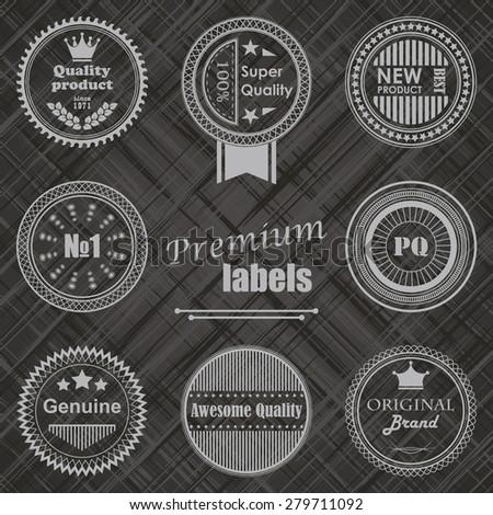 Premium labels set. Retro Vintage Design. Striped background       - stock vector