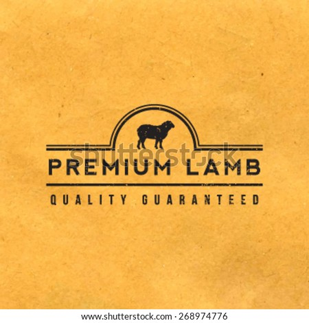 premium lamb label with grunge texture on old paper background - stock vector