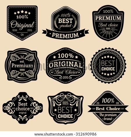Premium logo set. Best choice emblems. Best choice labels. Premium quality badges. - stock vector