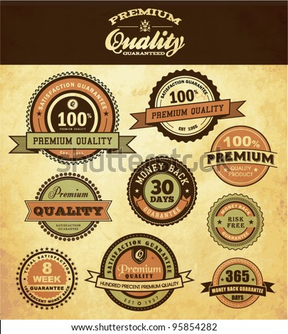 Premium Quality and Guarantee Icon - stock vector