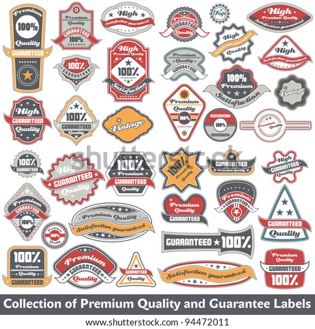 Premium quality and guarantee label collection - stock vector