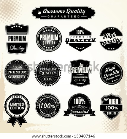 Premium Quality and Guarantee Labels with retro styled design - stock vector
