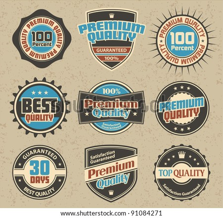 Premium Quality and Satisfaction Guarantee Label retro collection - stock vector