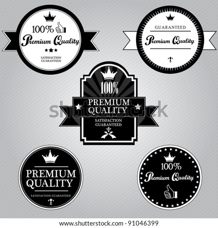 Premium Quality and Satisfaction Guaranteed Label - stock vector