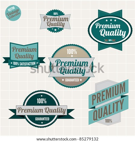 Premium quality badges with retro vintage design - stock vector