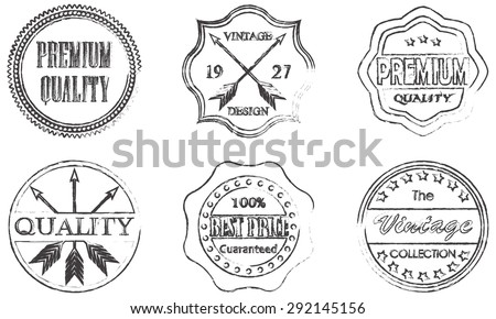 Premium quality, best price, vintage design badges and labels set isolated on white background. Vector illustration. - stock vector