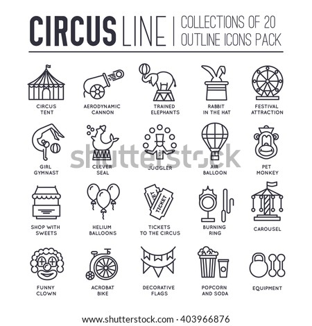 Premium quality circus outline icons collection set.  Festival linear symbol pack. Modern show template of thin line icons, logo, symbols, pictogram and flat illustrations concept - stock vector