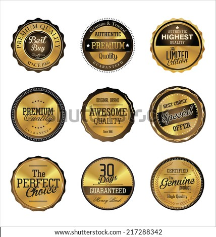Premium quality golden retro label - stock vector