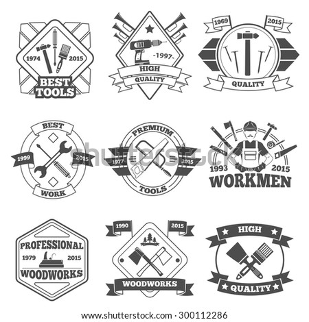 Premium quality hand work tools label set isolated vector illustration - stock vector