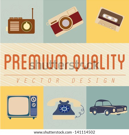 premium quality icons over vintage background vector illustration