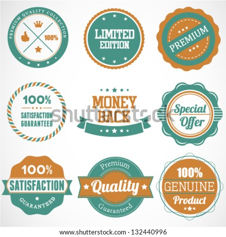 Premium Quality Label Set in Vintage Style - stock vector