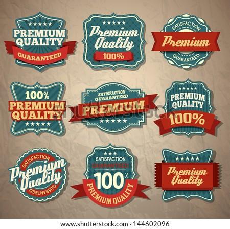 Premium Quality Labels - stock vector
