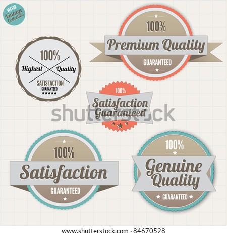 Premium Quality Labels and Satisfaction Guarantee patches with retro vintage design - stock vector