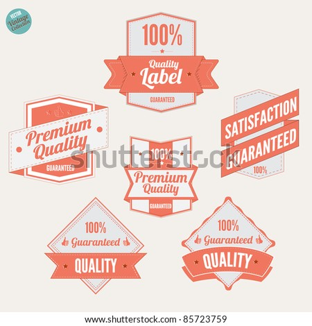 Premium Quality Labels and Satisfaction Guaranteed badges various design with retro vintage look - stock vector