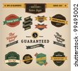 Premium Quality Labels - Collection of retro bi-colours vintage labels with several slogans: Best Choice, Premium Quality - stock vector