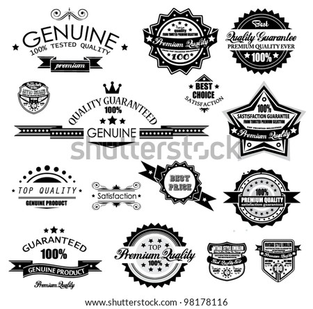 Premium Quality Labels - Collection of retro vintage labels with several slogans: Best Choice, Premium Quality, Top Choice and so on. - stock vector