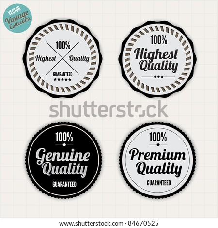 Premium Quality Labels  with clean retro vintage design - stock vector